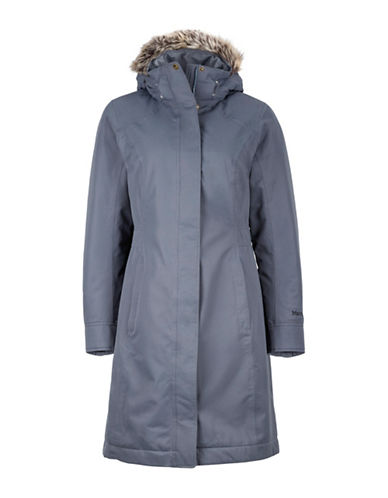 Marmot Chelsea Removable Hood Coat with Faux Fur-GREY-Medium