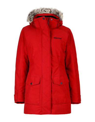 Marmot Geneva Hooded Coat with Faux Fur Trim-BRICK-Medium