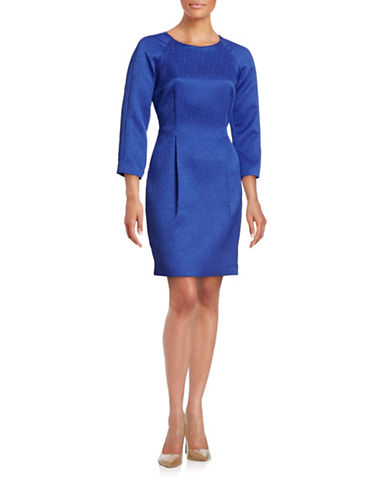 Rachel Rachel Roy Textured Jacquard Sheath Dress-BLUE-6