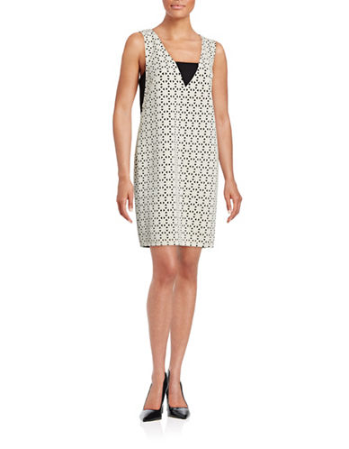 Rachel Rachel Roy Laser-Cut Scuba Sheath Dress-NATURAL-10