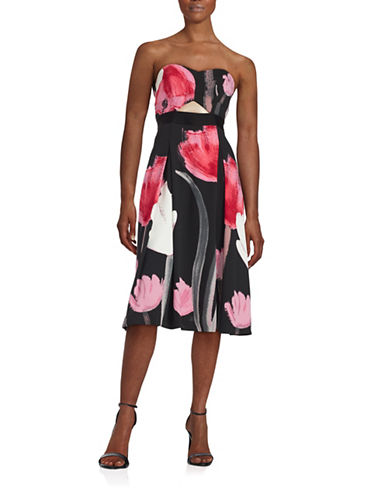 Rachel Rachel Roy Abstract Floral Midi Dress-BLACK-10