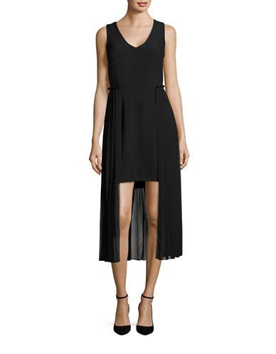 Rachel Rachel Roy Pleated Overlay Sheath Dress-BLACK-10
