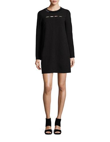 Rachel Rachel Roy Slit-Front Shift Dress with Beaded Neckline-BLACK-6