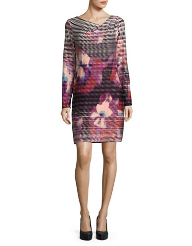 Rachel Rachel Roy Printed Cowl Neck Shift Dress-MULTI-Medium