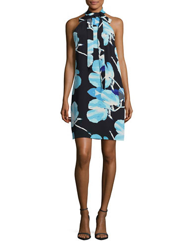 Rachel Rachel Roy Printed High-Neck Dress with Bow-BLUE-4