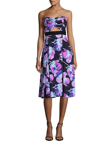 Rachel Rachel Roy Strapless Floral Fit-and-Flare Dress-ELECTRIC-4