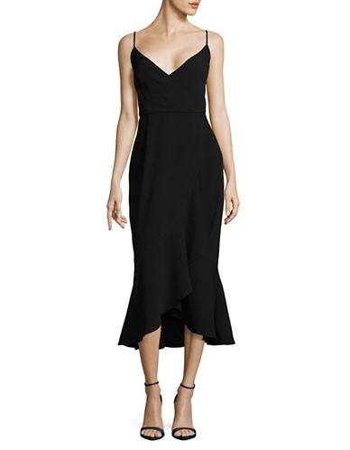 Rachel Rachel Roy Ruffle Front Sheath Dress-BLACK-8