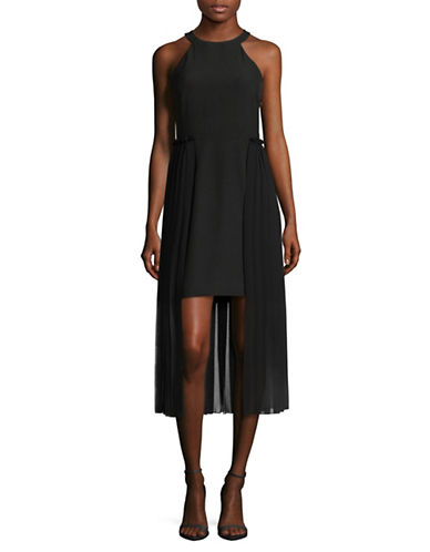 Rachel Rachel Roy Pleated Chiffon Overlay Midi Dress-BLACK-2