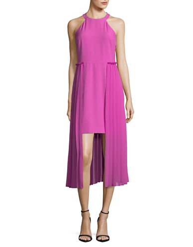 Rachel Rachel Roy Pleated Chiffon Overlay Midi Dress-PLUMERIA-14