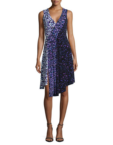Rachel Rachel Roy Mix Print Wrap Dress-VIOLET-Medium