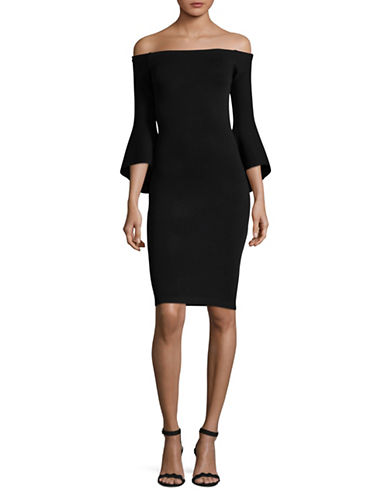 Rachel Rachel Roy Off-Shoulder Bell Sleeve Bodycon Dress-BLACK-Medium