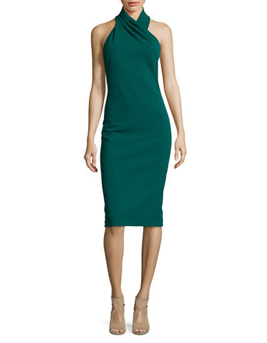 Rachel Rachel Roy Draped Halter Bodycon Dress-GREEN-8