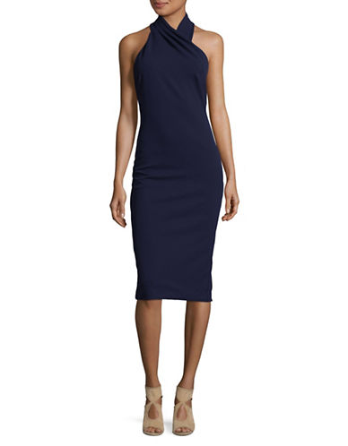 Rachel Rachel Roy Draped Halter Bodycon Dress-BLUE-12