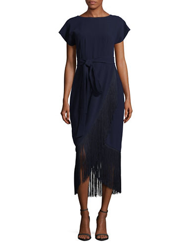 Rachel Rachel Roy Fringe Midi Wrap Dress-NAVY-10