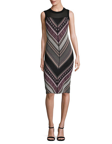 Rachel Rachel Roy Lurex Chevron Sheath Dress-MULTI-Large