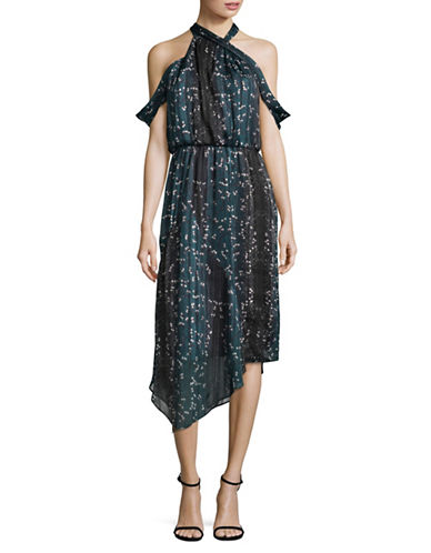 Rachel Rachel Roy Print Drape Neck Dress-GREEN-10