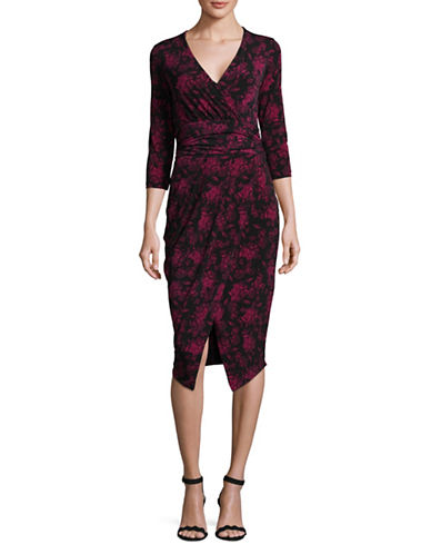 Rachel Rachel Roy Tricot Ruched Dress-FUSCHIA-Large