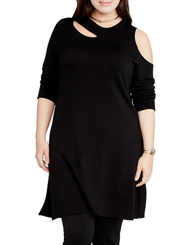 Rachel Rachel Roy Plus Cutout French Terry Sheath Dress-BLACK-3X