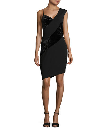 Rachel Rachel Roy Mixed Media Velvet Dress-BLACK-10