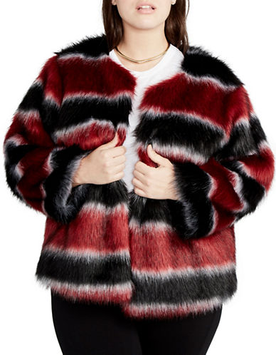 Rachel Rachel Roy Plus Striped Faux Fur Coat-BLACK MULTI-2X