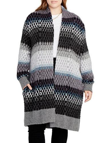 Rachel Rachel Roy Plus Ombre Long Sweater Coat-TEAL COMBO-2X/3X
