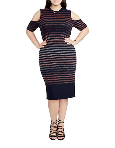 Rachel Rachel Roy Plus Stripe Cold-Shoulder Bodycon Dress-MULTI-2X