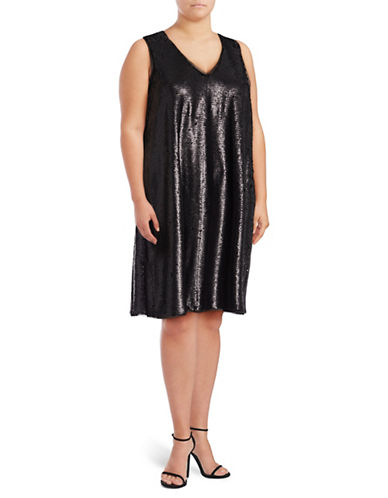 Rachel Rachel Roy Plus Sequin Swing Dress-BLACK-0X