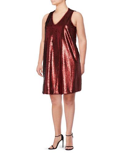 Rachel Rachel Roy Plus Sequin Swing Dress-RED-0X