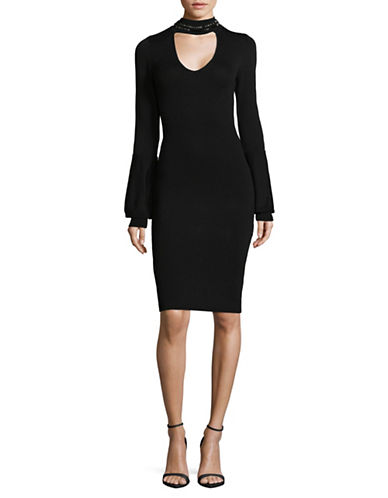 Rachel Rachel Roy Embellished Choker Dress-BLACK-X-Small