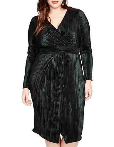 Rachel Rachel Roy Plus Plus Ribbed Wrap Dress-GREEN-1X