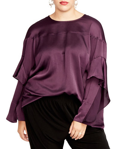 Rachel Rachel Roy Plus Plus Ruffled Long-Sleeve Top-EGGPLANT-2X