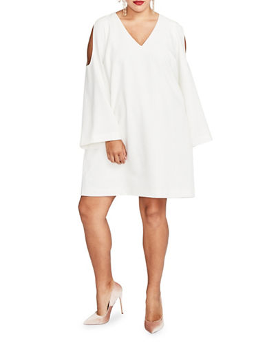 Rachel Rachel Roy Plus V-Neck Cold-Shoulder Shift Dress-WHITE-1X