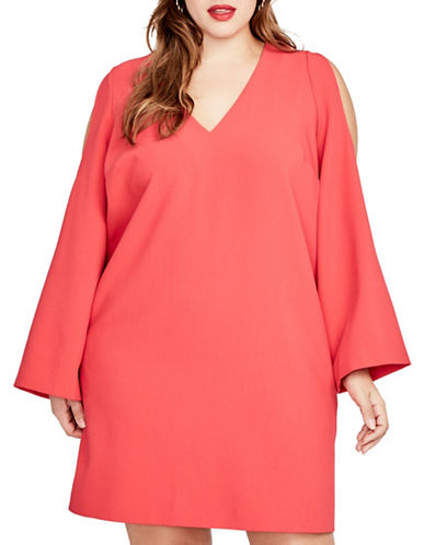 Rachel Rachel Roy Plus V-Neck Cold-Shoulder Shift Dress-CHERRY POP-0X