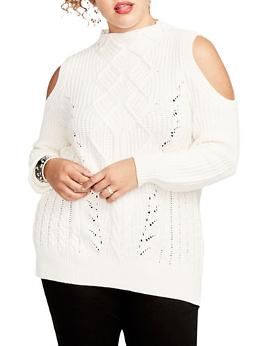 Rachel Rachel Roy Plus Cold-Shoulder Wool-Blend Sweater-CREAM-0X