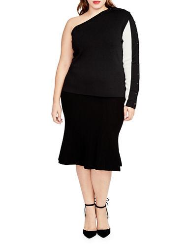 Rachel Rachel Roy Plus Jacquard Fit-And-Flare Skirt-BLACK-1X