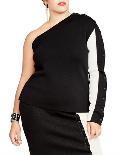 Rachel Rachel Roy Plus One-Shoulder Button Sleeve Top-BLACK-3X