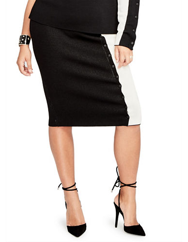 Rachel Rachel Roy Plus Striped Button Front Pencil Skirt-BLACK-0X