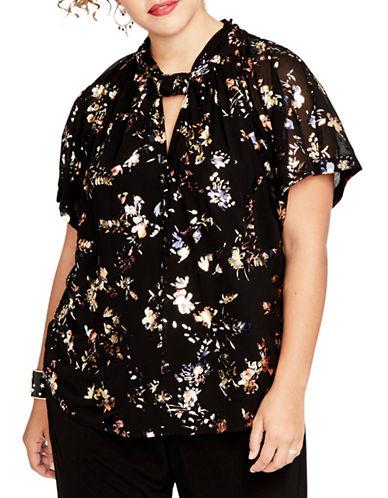 Rachel Rachel Roy Plus Floral Kimono Top-BLACK-3X