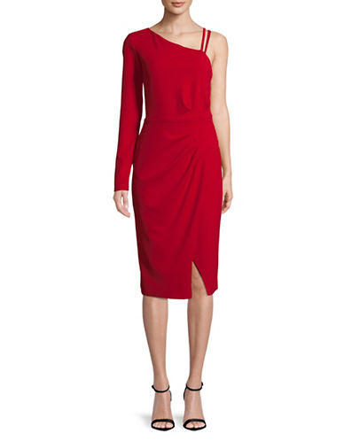 Rachel Rachel Roy Asymmetric Ruched Midi Dress-RED-12