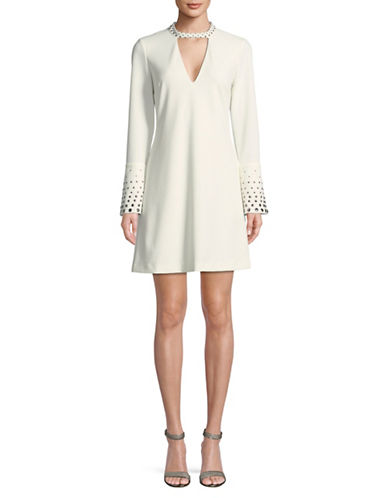 Rachel Rachel Roy Embellished Bell-Sleeve Fit-and-Flare Dress-WHITE-14