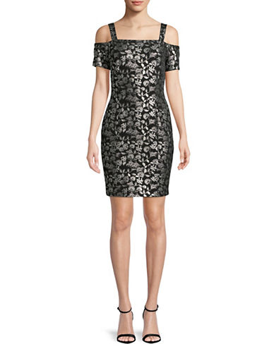 Rachel Rachel Roy Cold-Shoulder Foil Sheath Dress-BLACK/SILVER-8