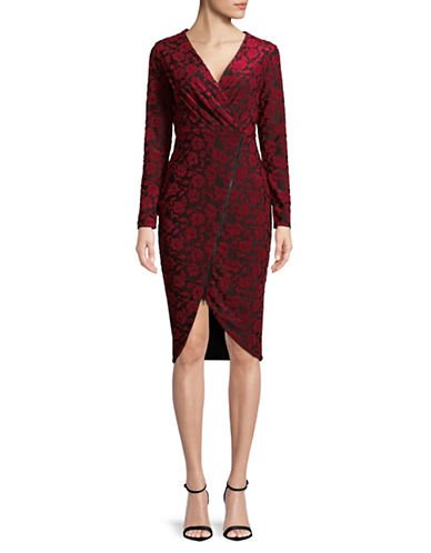 Rachel Rachel Roy Floral Terry Zip-Front Sheath Dress-RED-Small