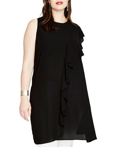 Rachel Rachel Roy Plus Long Ruffle Tunic-BLACK-1X