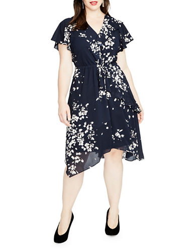 Rachel Rachel Roy Plus Mixed Ruffle Dress-BLUE-2X