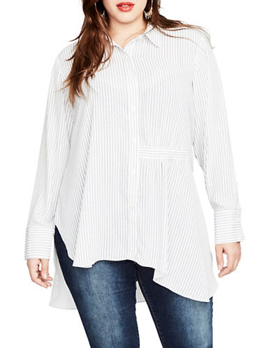 Rachel Rachel Roy Plus High-Low Button-Down Shirt-WHITE-14W