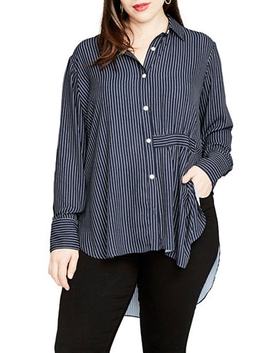 Rachel Rachel Roy Plus High-Low Button-Down Shirt-BLUE-18W