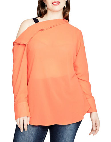 Rachel Rachel Roy Plus Open Drape Blouse-ORANGE-22W
