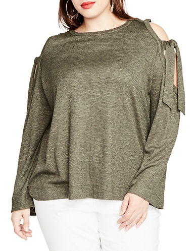 Rachel Rachel Roy Plus Tie Shoulder Ribbed Top-GREEN-1X