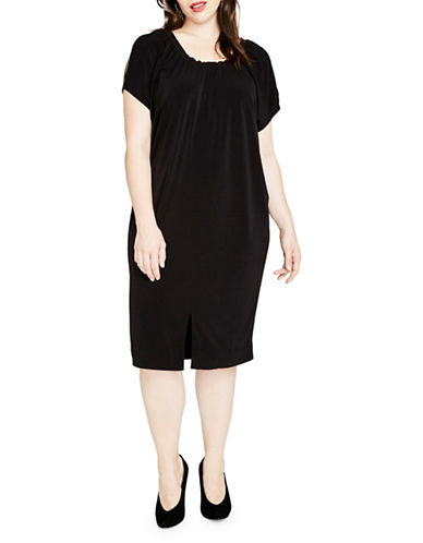 Rachel Rachel Roy Plus Elasticized Gathered Caftan Dress-BLACK-3X