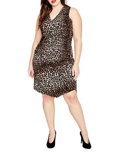 Rachel Rachel Roy Plus Leopard Sleeveless V-Neck Dress-BEIGE-2X